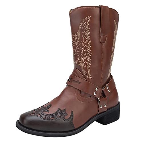 Huyounide Cowboy Boots for Retro Women Print Embroidery Square Heels Buckle Strap Middle Tube Booties Round Toe Shoes Vintage Cowgirl Boots Brown