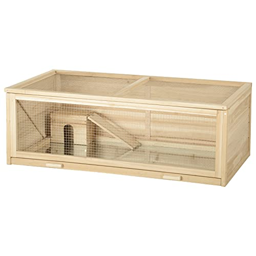 EUGAD Hamsterkäfig Holz Groß Kleintierkäfig Mäusekäfig Nagerkäfig Nagervilla 110x58x38cm 0002CSL