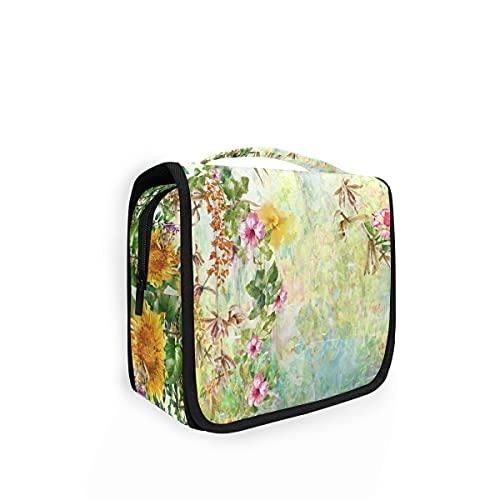 Bolsa de aseo de viaje para colgar 23 flores coloridas acuarela kit maquillaje caso cosméticos organizador para hombres mujeres