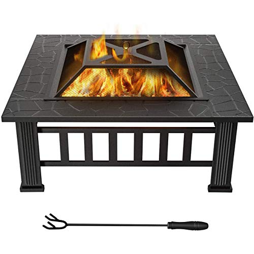 Fire Pit Table Outdoor, Multifunctional Garden Terrace Fire Table with Spark Screen Cover, Log Grate, Poker for Backyard Garden Camping Picnic Bonfire