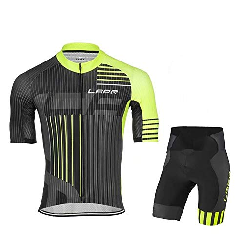 Men's Cycling Jersey Set Quick-Dry Breathable Short Sleeve Bike Shirt + Shorts Suit with 3D Gel Padded