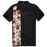 KPOON Camisa de Manga Corta para Hombre Retro de Manga Corta Camisa de Costura Punk de la Calle de Hip-Hop Impreso Rockabilly de Caballero Tops Negro Camisa Hawaiana (Color : Black, Size : XXL)