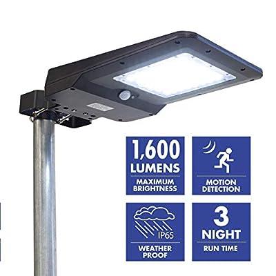 Wagan EL8586 1600 Lumen Integrated Solar Street Lamp Flood Light, Motion Sensor Included, Black