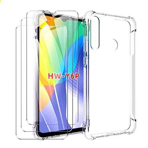 SCDMY Funda para Huawei Y6P Cover + 3 * Cristal Templado, Airbag de Cuatro Esquinas Funda, Ultra Fina Transparente TPU Protectora Silicona Carcasa Protector Case Cover para Huawei Y6P