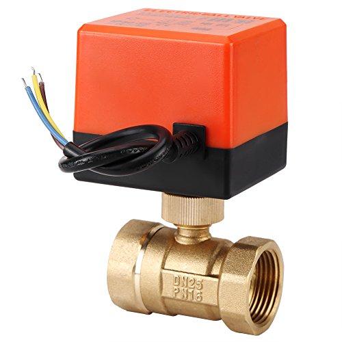 Válvula de bola motorizada, Válvula de bola eléctrica de latón AC 220V 2 vías 3 hilos 1.6Mpa hilo, El ahorro de energía(DN25)