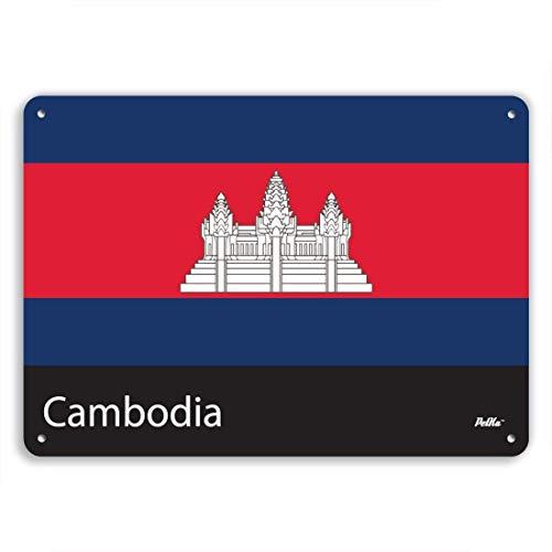 Monsety Retro-Metallschilder Kambodscha-Flagge Blechschild Geschenk Hausstraße Garage Türdekoration