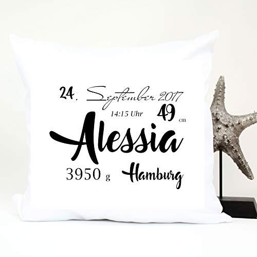 Babygeschenk mit Geburtsdaten personalisiert - Kissen mit Namen als Geschenk zur Geburt oder Taufe - Namenskissen für Baby's Jungen & Mädchen (Alessia)