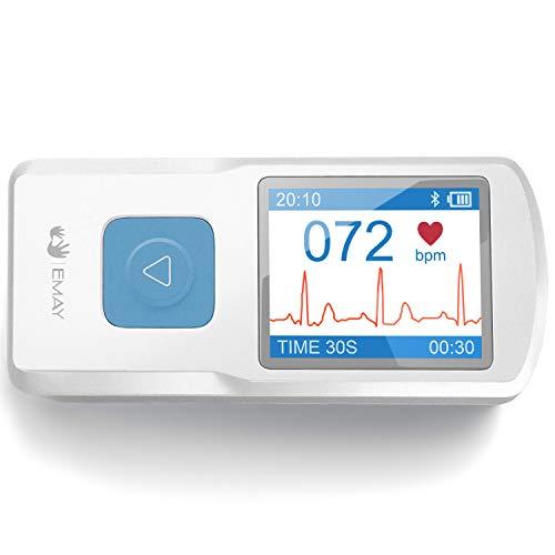 EMAY Tragbarer EKG (für iPhone & Android, Mac und Windows) zur Aufnahme von EKG und Herzfrequenz