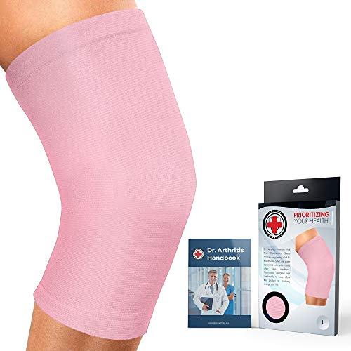 Doctor Developed Knee Brace/Knee Support/Knee Compression Sleeve [Single] & Doctor Written Handbook -Guaranteed Relief for Arthritis, Tendonitis, Injury (Pink, M)