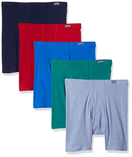 Hanes Men's TAGLESS No Ride Up Boxer Briefs with Comfort Soft Waistband 5-Pack-M-Assorted
