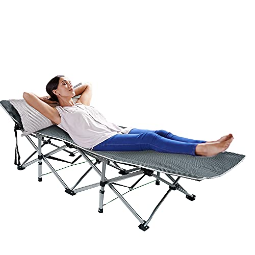 Folding Camping Cots, Portable Single Person Camping Bed Heavy Duty Double-Sided Foldable Sleeping Bed for Adults Patio Office Beach Outdoor Indoor
