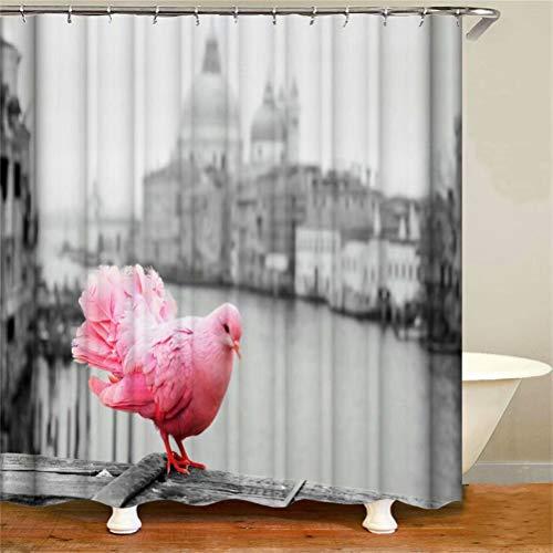 SLN Haus Dekoration. Rote Tauben. Duschvorhang: 180X180 cm. 12 C-Förmige Haken. 3D Hd Druck. Wasserdicht. Nicht Verblassen.