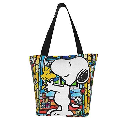 Cartoon Snoopy Frauen Multifunktions Große Kapazität Schultertasche Einkaufstasche mit Reißverschluss Handtasche Strandtasche Laptoptasche Tablet Tasche