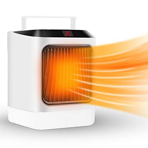 Termoventilatore Elettrico, 600W/800W Portatile Termoventilatore Ceramica, Riscaldatore Elettrico con Luce Notturna Temporizzata...