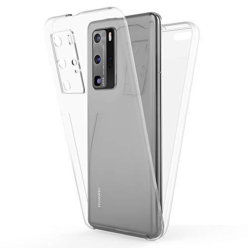 NALIA 360 Grad Handyhülle kompatibel mit Huawei P40 Pro Hülle, Full-Cover Silikon Bumper mit Displayschutz vorne Hardcase hinten, Komplettschutz Dünn Fullbody Case Rundum Handy-Tasche - Transparent