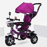 MAMINGBO Triciclo, con la sombrilla de titanio Aire rueda de absorción de choque del pedal Trike, durante 2 3 4 5 años de edad Niños Niñas interior y exterior (Color : Púrpura)