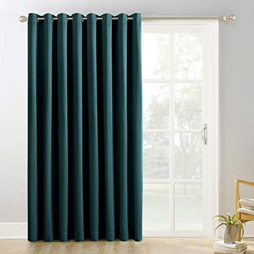 "Sun Zero Easton Blackout Energy Efficient Grommet Curtain Panel, 100"" x 84"" Patio, Teal"
