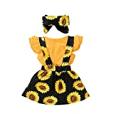 JIA DDZ Mameluco para niña con diseño de girasol, tres piezas, color amarillo y negro, talla 100