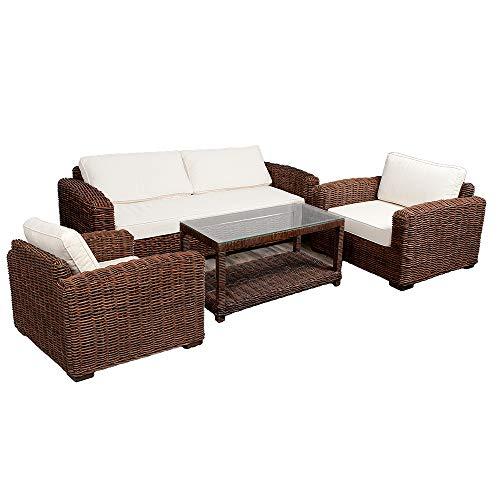 LEBENSwohnART 4tlg. Loungemöbel-Set Living Natural Brown Rattan Kubu Grey Garnitur Sitzgruppe