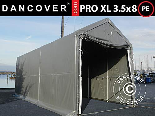 Dancover Lagerzelt PRO XL Bootszelt Zeltgarage PRO Lagehalle XL 3,5x8x3,3x3,94m, PE, Grau