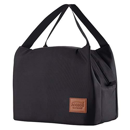 XMYNB Lunch Bag Isotérmicas Bolsas De Almuerzo Bolsa De Comida para Mantener Frescos Los Viajes Bolsas De Alimentos para Los Hijos De Las Mujeres Bolsa De Asas,Negro-Plus