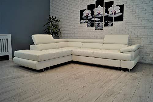 Quattro Meble Moderne hoekbank van wit echt leer, hoekbank LTN 275 x 225 sofa bank met slaapfunctie, bedlade en hoofdsteunen, echt lederen hoekbank (275 x 225 hoekbank links)