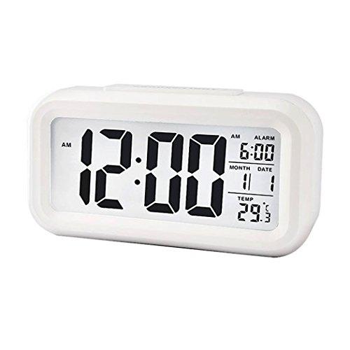 Digital Night Sensor Despertador LED Snooze Button Despertador–Iluminación Viaje activa Sensor de luz para alarma Luz de fondo medium Weiß