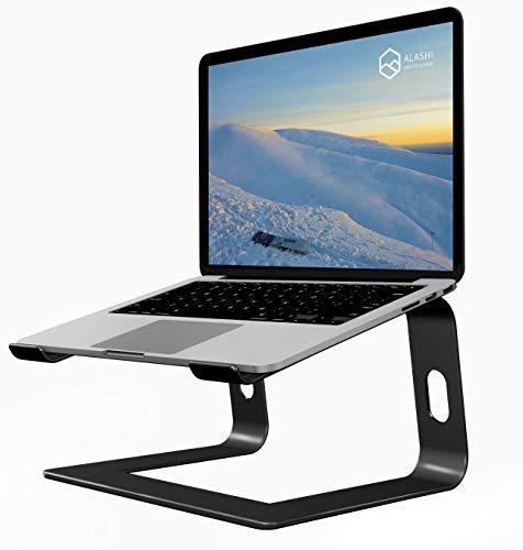 ALASHI Laptop Stand for Desk, Aluminum Computer Riser, Ergonomic Notebook Holder, Detachable Metal Laptops Elevator, PC Cooling Mount Support 10 to 15.6 Inches Notebook, Black