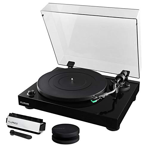 Fluance RT81 Elite High Fidelity Vinyl Turntable Record Player Featuring Audio Technica AT95E, Belt Drive, Built-in Preamp with Record Weight and 3 in 1 Stylus and Record Cleaning Vinyl Accessory Kit