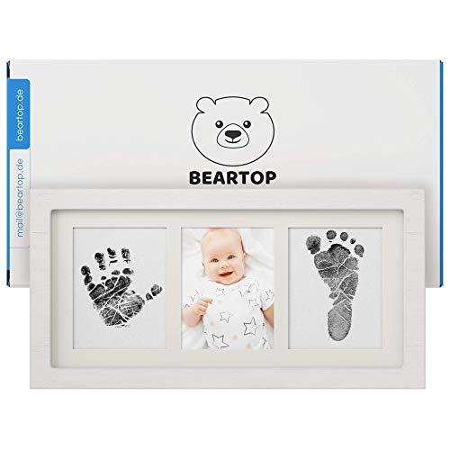 Premium Hand- & Fußabdruck Baby Set von BEARTOP | mit wiederverwendbarem Stempelkissen mit Farbe für viele schöne Erinnerungen | inkl. modernem Bilderrahmen aus Holz | Zufriedenheitsgarantie (3 Jahre)