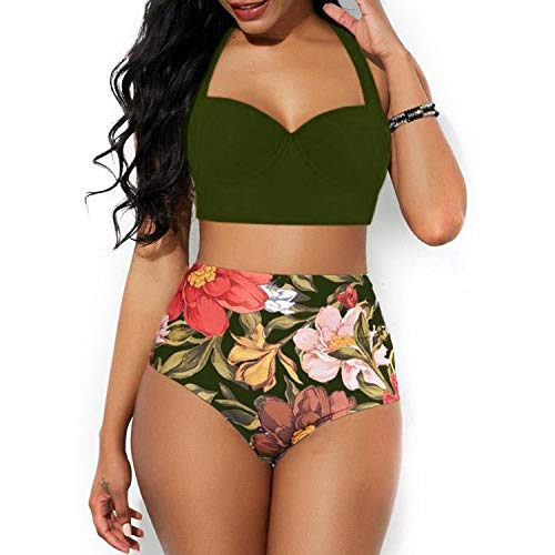 BSbattle 2020 New Bikini Set Zweiteiliger Badeanzug Frauen Badeanzug Bademode Strandkleidung Hohe Taille Tankini Biquini Plus Size May - Grün - XXX-Large