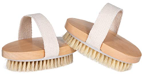 Opaz Dry Body Brush 2 pack Natural Bristle for Dry Skin - Exfoliator scrubber - wet or dry scrub Smooth cellulite - Stimulate blood flow