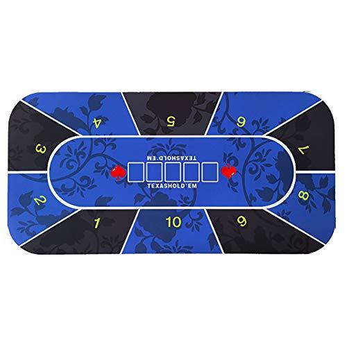CHSHY Anti-Rutsch-Gummi-Casino Tabellen-Layout, Texas Hold\'em Table Mat, Poker-Spieltisch Matte, Größe 70 X 35 Inch, Blau, Muster,35inch