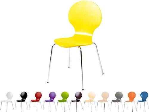 Stapelstuhl Bistrostuhl Stuhl Esszimmerstuhl Küchenstuhl Design Metall Holz stapelbar sehr belastbar Marcus (Gelb)