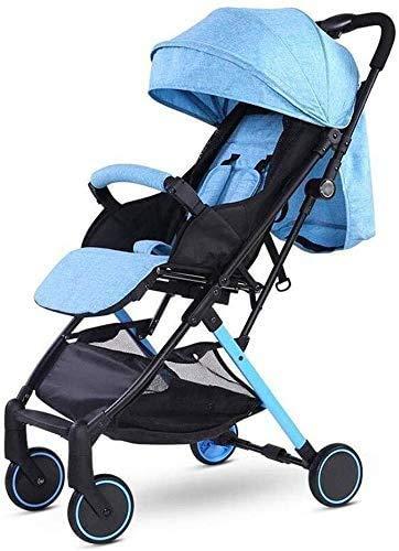 DAGCOT Cochecito de bebé sentado Horizontal portátil plegable de 4 ruedas Suspensión paraguas Viajes yangmi (Color : Blue)
