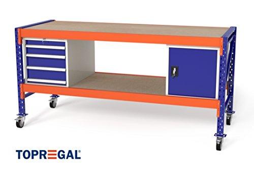 Arbeitstisch Werktisch Werkbank fahrbar von TOPREGAL B230xH89-129xT80cm, Multiplexplatte, Module: 1x WS4 / 1x WST / 2x Holzboden