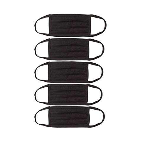 Bandanas de cara reutilizables Polvo de montar al aire libre negro Algodón lavable Bandanas de cara transpirable Moda Protección de cara completa (C 5PCS)