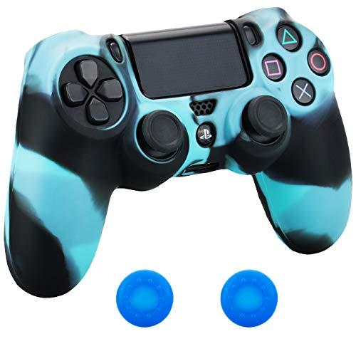 Pandaren® Silikon hülle skin Schutzhülle für PS4 controller (schwarz blau) x 1 + thumb grip aufsätze x 2