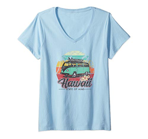 Womens Aloha Hawaii- Retro Surf Beach Van Vintage Hawaiian V-Neck T-Shirt