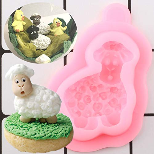 ZHQIC 3D Silicone Mold Animals Cupcake Topper Fondant MoldsBirthday Cake Decorating Tools Candy Chocolate Gumpaste Mould