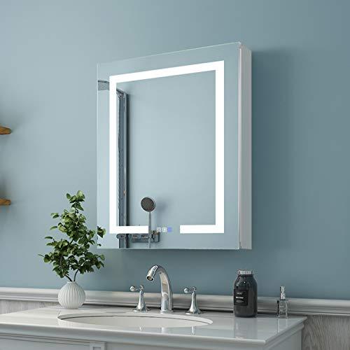 ES-DIY 24 x 30 Inch LED Lighted Bathroom Medicine Cabinet with Mirror, Recessed or Surface Mount, Defogger, Stepless Dimming and Color Temper 3000K-6400K, Adjustable Glass Shelves,2 outlets,Left Hinge
