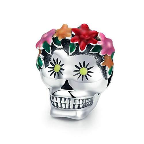 Charm per braccialetti Pandora in vero argento Sterling 925 con zucca, a costine magiche, cappello a teschio, per braccialetti da donna e Argento, colore: Fiore teschio, cod. YS-C1361