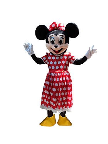 mickey Mouse and Minnie Mouse Adults Mascot Costumes Cosplay Fancy Dress Outfits (Minnie Mouse)