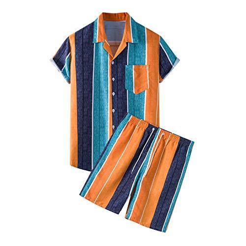 Men's Hawaiian 2 Piece Sets Tracksuit Casual Button Down Short Sleeve Shirt and Shorts Suit Regular fit Orange