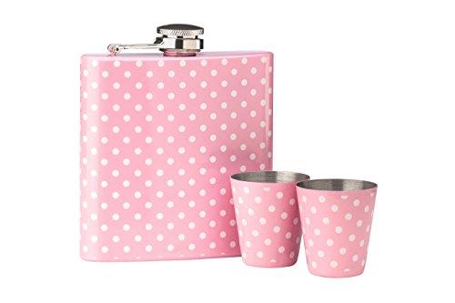 Premier Housewares Flachmann-Set, 170ml, gepunktetes Design, pink