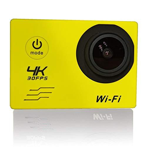QINQIN Pantalla LCD para Exteriores Cámara Deportiva HD 4K de 2.0 Pulgadas con WiFi, Mini cámara de reconocimiento, 100 pies a Prueba de Agua, Adecuada para la práctica de Deportes de Buceo, Amarillo