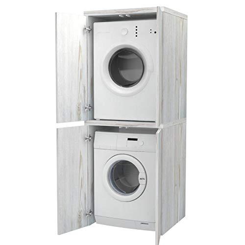 Ve.Ca. Mobile colonna con ante Coprilavatrice in legno, copri lavatrice/asciugatrice, diversi colori, anche su misura, lavanderia bagno (Shabby chic)
