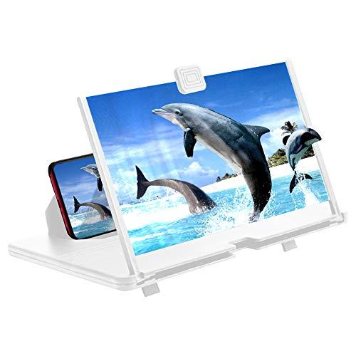 AnCoSoo 12-Zoll-Bildschirmlupe-3D HD Handy-Lupe Projektorbildschirm für Filme, Videos und Spiele- (weiß)