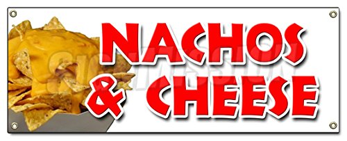 Nachos & Cheese Banner Sign Snack Melted Mexican Food Tacos tex mex