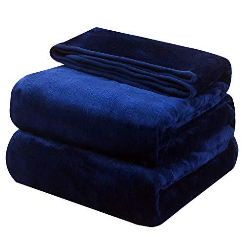 OBOEY Kuscheldecke Navy Blau 220x240cm Polare Fleecedecke als Sofadecke, Bequeme & Warme Tagesdecke, Weiche & Bequeme Wohndecke, Flauschige Bettdecke